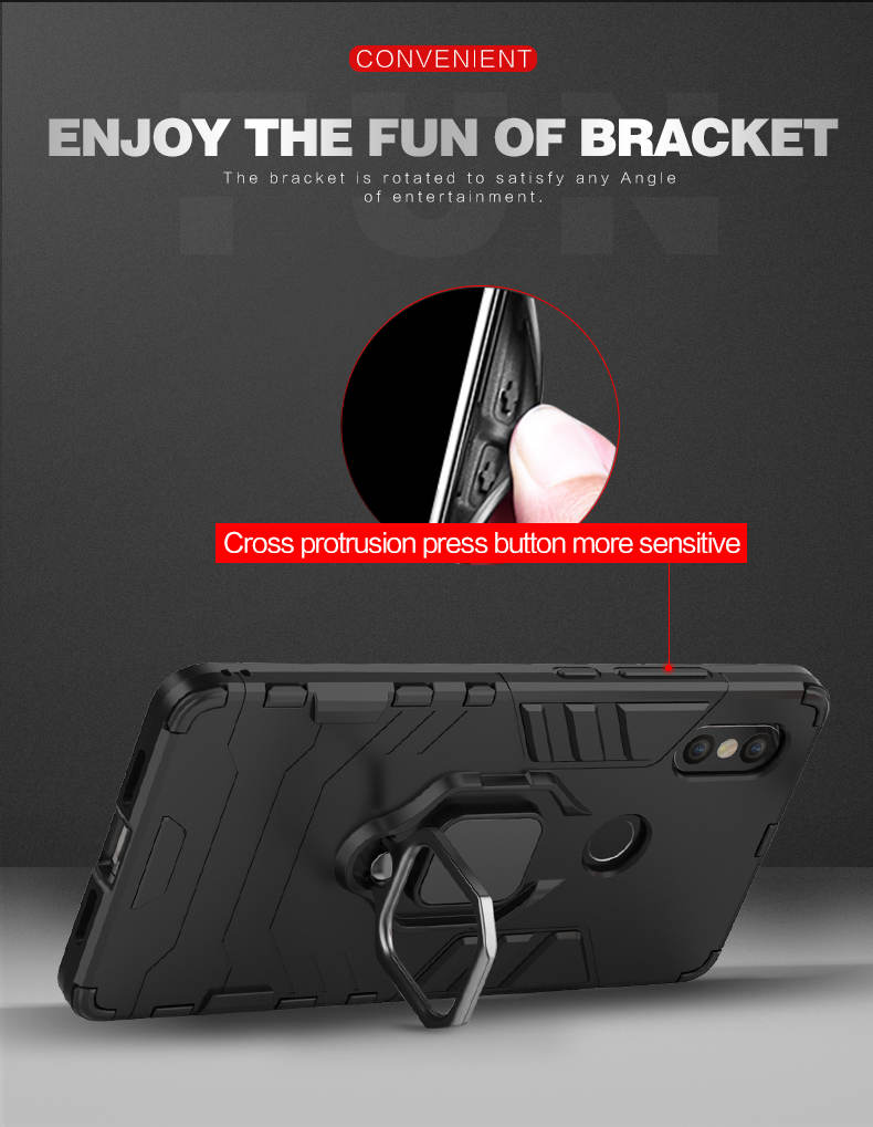 Mobile phone accessories hard armor phone back cover ring finger kickstand tpu pc case for xiaomi mi 8 se