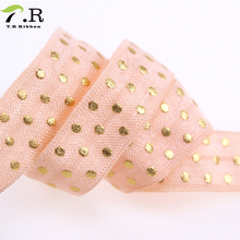 Wholesale 5/8'' shiny fold over elastic packed by spool custom print elastic ribbon