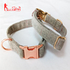 Pet Supply Premium Tweed Cotton Dog Collar with Rose Golden Metal Buckle Dog Cotton Collars