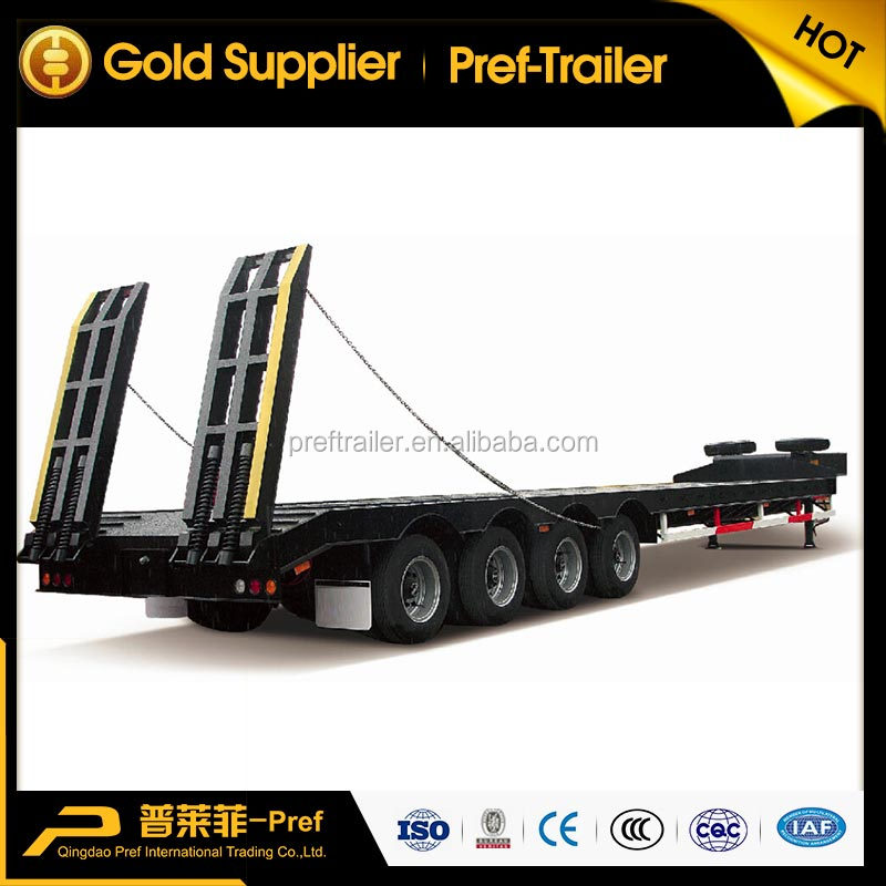 4 <strong>axles</strong> low bed semi trailer truck tractor trailer with big load capacity