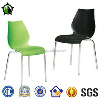 Modern Plastic Bright Colored Dining Chairs Leisure Chair Plastic Chairs with Chrome Metal legs