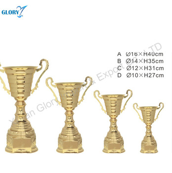 Gold Plated Cup Metal Trophy for Champion Honor Prizes