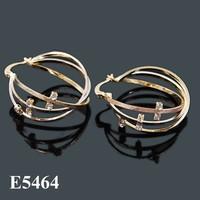 Fashion Jewelry 2015 Gold Earrings African Hoop Earring Tri Tones Indian Earrings
