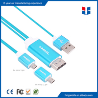Wholesale micro 5p+ 11p mhl 2.0 usb to hdmi tv adapter cable for android smartphone
