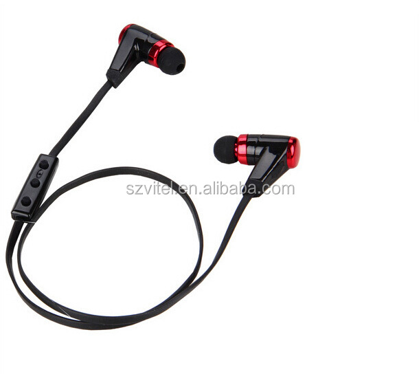 Stereo Running Bluetooth Headsets Function Keys On Flat Cable With Ear Cushions