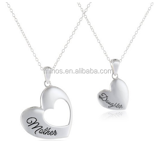 Women New Style Stainless Steel Silver 2 Piece Mother Daughter Heart Cutout Pendant Necklace