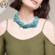 NLX-00987 Multilayer handmade boho style turquoise natural stone statement choker necklace for women