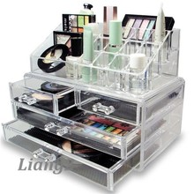 made in China acrylic lucite clear makeup organizer with drawers