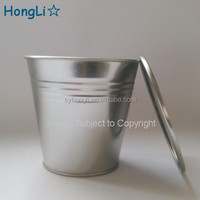 110mm Plain Silver Color Metal Tin Bucket with Lids