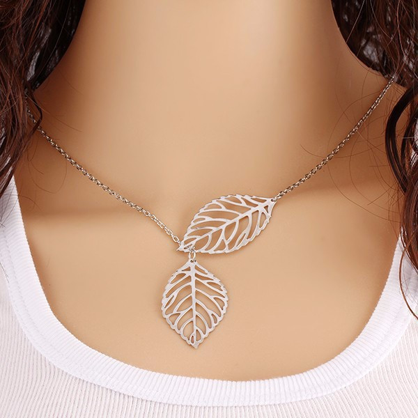 Women Fashion Leaf Charm Choker Chunky Statement Bib Chain <strong>Necklace</strong>