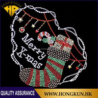 Wholesale Christmas stocking half round hotfix rhinestone motif