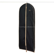 Custom luxury non woven polypropylene black wedding dress suit cover bag wholesale/travel nonwoven foldable cloth garment bag