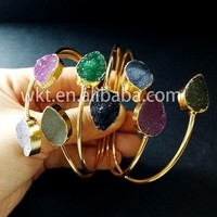 WT-B088 Colorful druzy agate stone bangle double teardrop bracelet stone bangles in gold electroplated