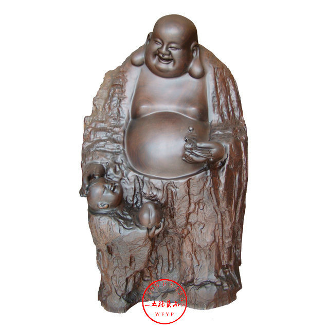 Natural calamander wood carving maitreya business gift redwood carving crafts decoration