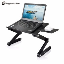 Adjustable Ergonomic Laptop Stand in Bed with 2 USB Colling Fans and Mouse Pad