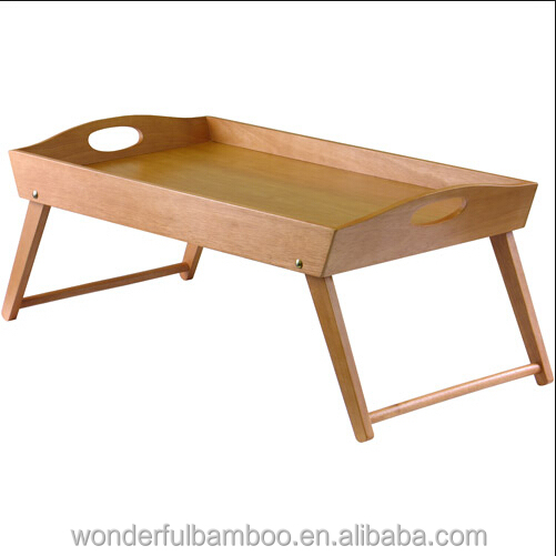 New design kicthenware hotel high quality bamboo breakfast serving bed tray with handle foldable legs