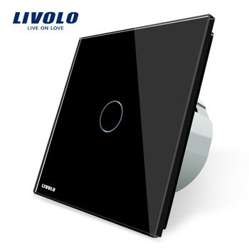 Livolo Electric Switch EU standard 220V/50~60Hz Luxury Crystal Glass Panel Wall Lighting Switch For Home VL-C701-12