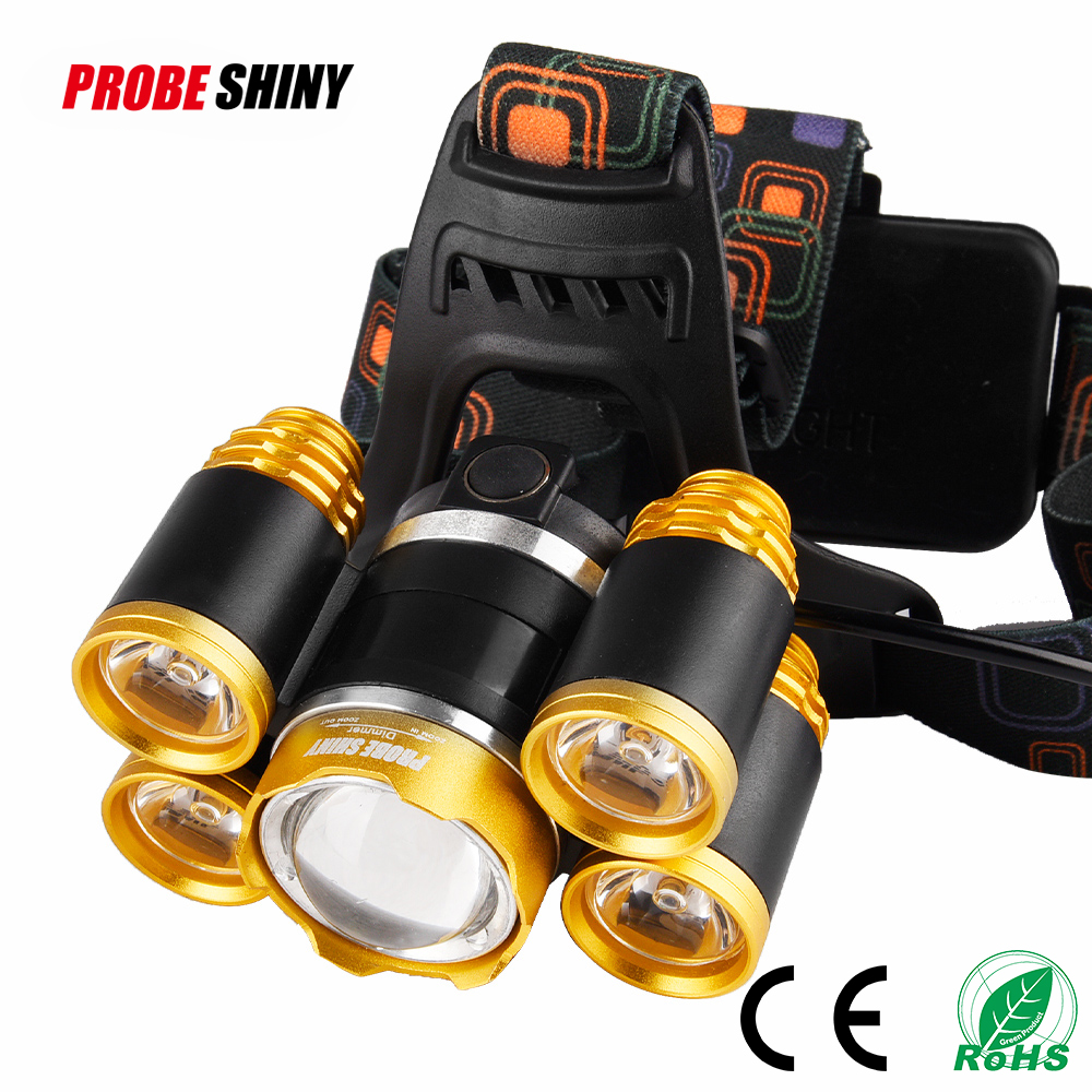 5pcs xml t6 led rechargeable high brightness 5000 lumens dual light source rechargeable led headlamp