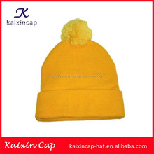 wholesale 100% acrylic Beanie Hat With Pom Pom Top Ball Yellow Beanie knitting Hat