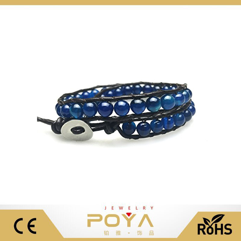 POYA Jewelry personalized custom engraved leather wrap vogue jewellery bracelets