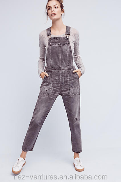 laides denim overalls mid-grey jeans top fashion overalls