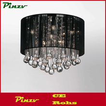 "10"" Gocce Modern Crystal Round Flush Mount Ceiling Lamp Polished Chrome Black String Shade 4 Lights"