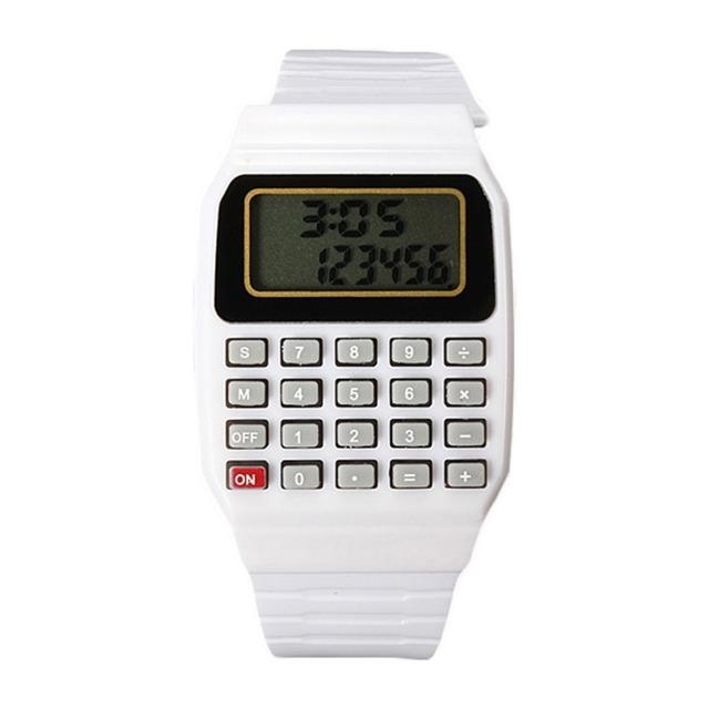 Children Chic Silicone Date Electronic Multi-Purpose Wrist Calculator Watch for kids
