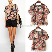 2015 OEM Fashion Hot Retro Women Trendy Colorful Flower Print Chiffon Short Sleeve Round Neck T-shirt Blouse Top