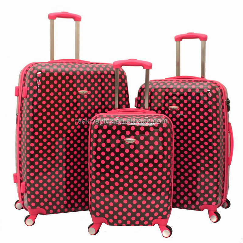 RW6251G China Luggage Factory Supply Pink Dots Print 3pc ABS PC Spinner Wheel Hard Case TSA Lock Travelling Luggage Suitcase Set