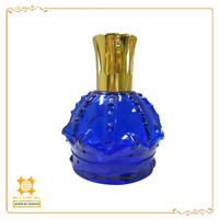 Blue glass clear empty bottle with a golden metal cap small size scented candle diffuser