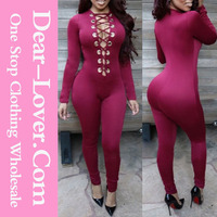 Wholesale Gorgeous Wine Deep V Neck Lace up pictures of sexy girls wearing jumpsuit