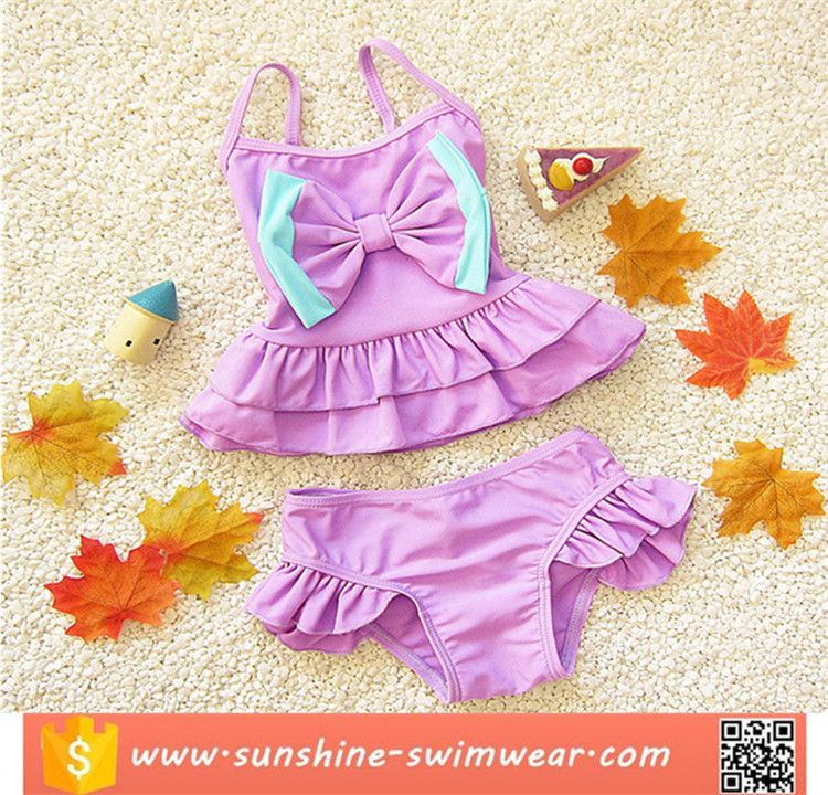 Cute Baby Bikini Big Bowknot Stripe 2 Pieces Girls Skirt Swimwear Sets