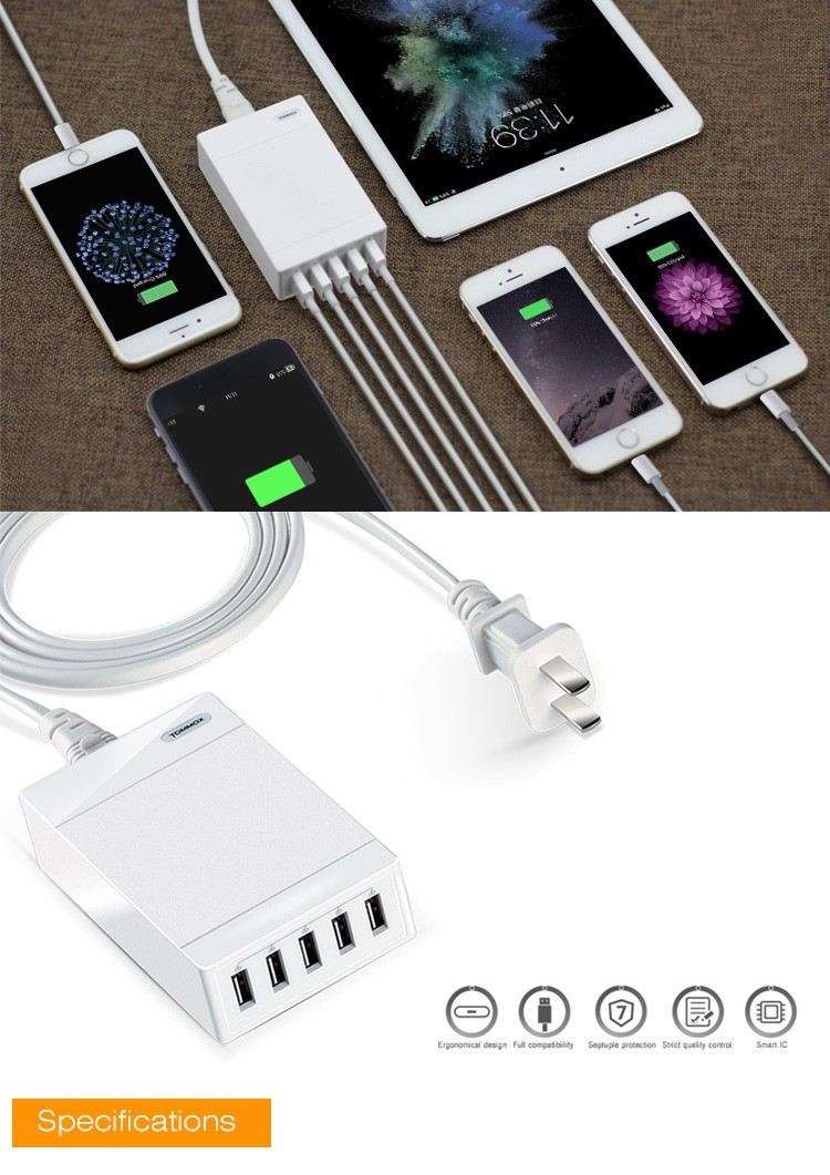Newest 5-Port USB Home Wall Charger Adapter for Apple for iPhone 3G 4 4G 4GS