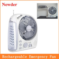 Multi function 8 inch rechargeable table fan with LED light and radio