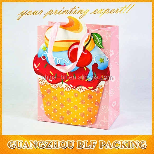 full color printing glossy lamination shopping food paper bag and gift bag