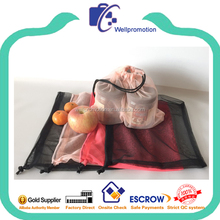 Reusable wholesale mesh shopping produce bags for fruits