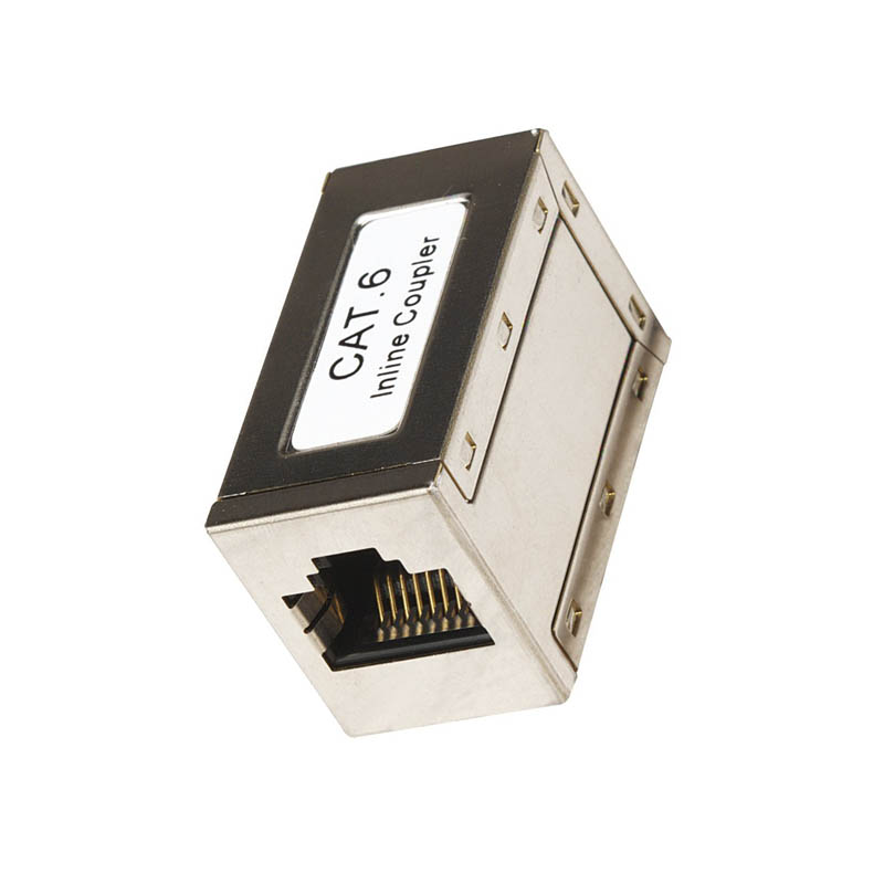 180 degree rj45 stp cat6 in-line coupler