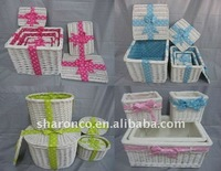Willow packing baskets with set/4