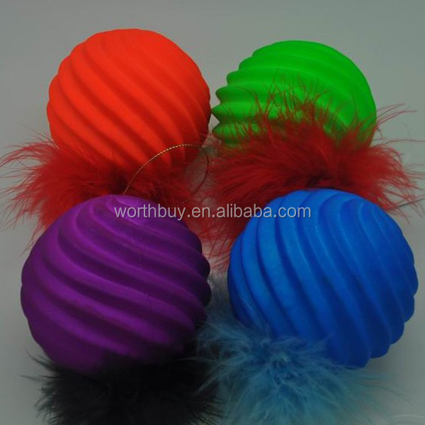 2014 besting colorful Decorative glass Christmas ball, Christmas decoration with feather from Shenzhen factory