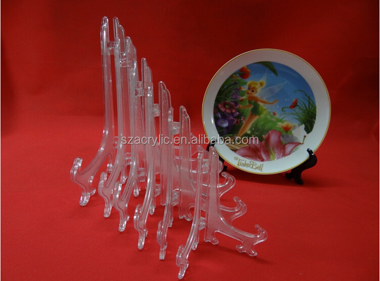 clear acrylic plate display stand plate easel ,plexiglass dish holder/ Wholesale acrylic Plate Stands