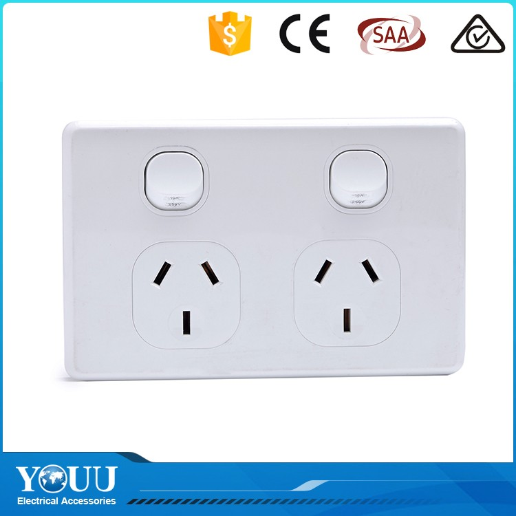 YOUU Cool Novelty Products 10A Electric 2 Gang 2 Way Wall Switch And Socket For Light