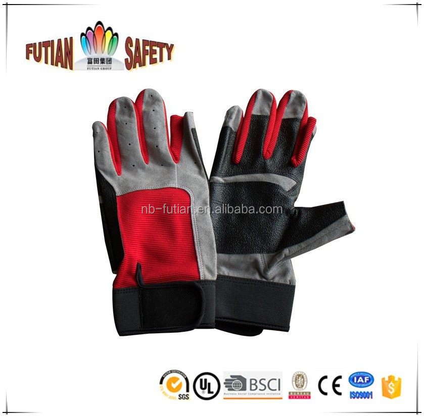 FTSAFETY Fingerless red spendex cycling gloves with pu patch palm