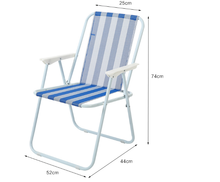 Iron Metal Portable Spring Classic Canvas Folding Beach Chair for Outdoor