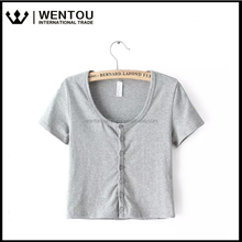Sexy Women Summer New Round Neck Short Sleeve Button-down Cardigan Tight Low Waist Down Blouse