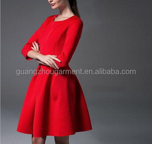 Red Long Sleeve pleat evening dress,Evening Dress Made In China,China dress manufacturer