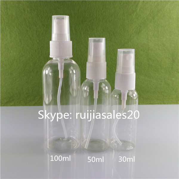 Free samples!!! 30ml 50ml 100ml Clear Plastic Round PET Spray Bottle