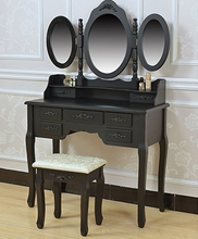 Factory Direct Collection Vanity Dressing Table Set with Stool, Black Make Up dresser