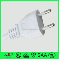 Junlong VDE flat electrical cable EU 2 round pin power cable plug