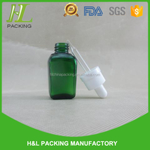 China wholesale! 20ml square green glass bottle for essential oil, 20ml bottle bouteille e liquid