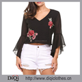 High Quality Oem Custom Ladies Fashion Black Flare Sleeve V Neck Floral Embroidered Backless Pullover Tops